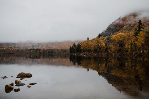 Steine in stillem See, Spiegelung der Herbstbäume im Wasser